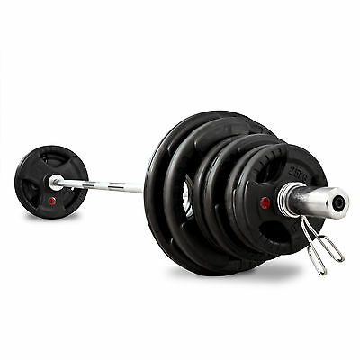 Bodymax 100Kg Olympic Rubber Radial Barbell Kit with 7 ft Bar and spring collars