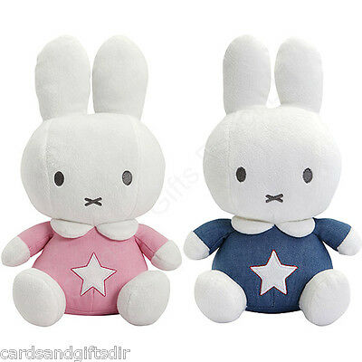 Miffy Soft Toy With Rattle Denim Blue Pink Suitable from Birth Boys Girls