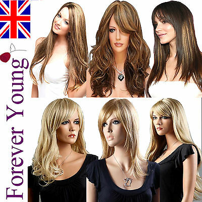 AMAZING Ladies Long Blonde Full Wig Wavy Straight Fashion Wigs Forever Young UK