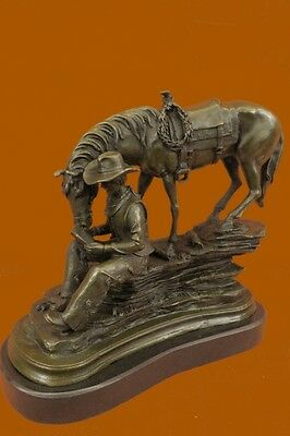 Frederic Remington Bronze Cowboy on Horse Sculpture - Signed - Stunning Quality