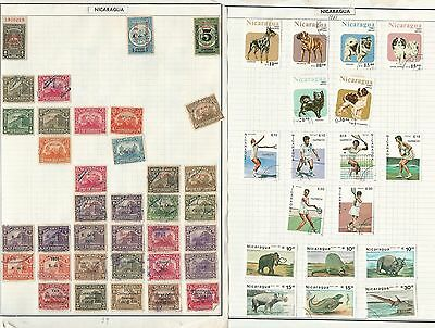 Nicaragua Collection on 34 Album Pages, 100's of Nice Stamps to Pick Through