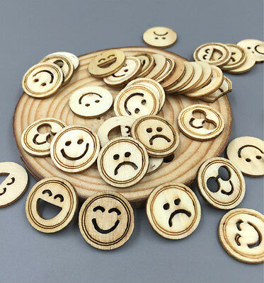 100pcs various expressions smiley Wooden Sewing Scrapbooking Crafts 18mm