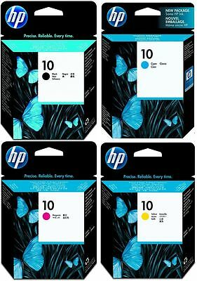 4x HP Genuine No 10 Print-Head Cartridges Set Black,C,M,Y,C4800A,C4801 Printhead