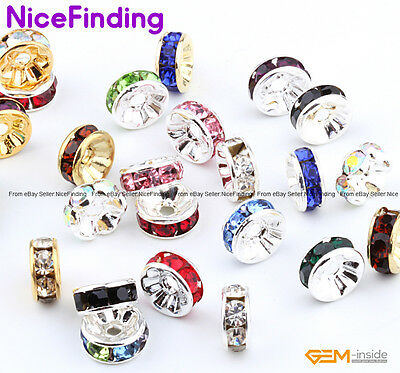 100Pcs Czech Crystal Rhinestone Spacer Beads For Jewellery Making Free Shipping