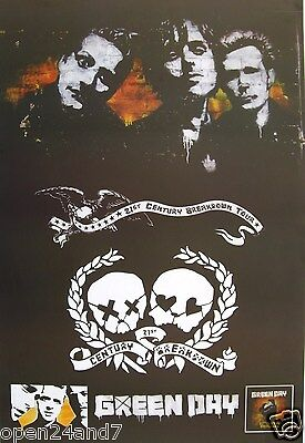 """GREEN DAY """"21st CENTURY BREAKDOWN TOUR"""" POSTER FROM ASIA-Band's Faces Above Logo"""