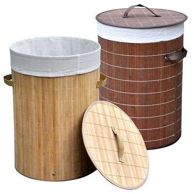 Round Folding Bamboo Laundry Washing Basket Clothes Linen Storage Hamper Bin+Lid