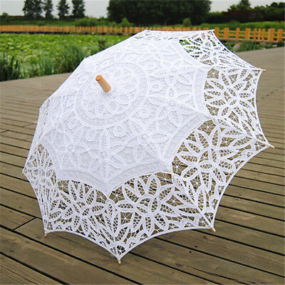 Handmade Cotton Lace Wedding Bridal Parasol Umbrella White for Party Proms