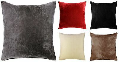 "Velvet Cushion Cover Plain Dyed Covers 18"" 22"" All Colours"