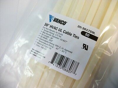 "NEW RETAIL - 50 PACK of 36"" in inch - NATURAL CABLE ZIP TIES - 175 Lbs"