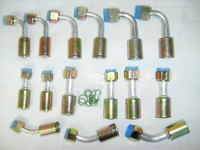 BEADLOCK A/C FEMALE O RING CRIMP ON FITTING KIT, STRAIGHT,45,90 DEGREE 15 piece.