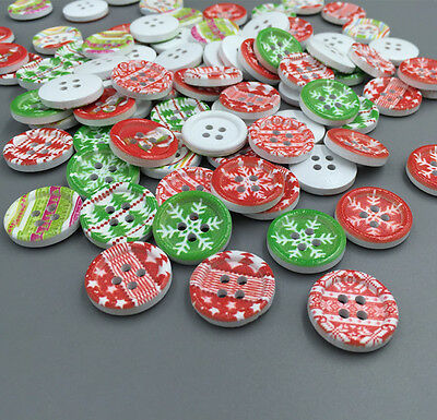 20-100pcs Mixed Christmas Wooden Buttons Fit Sewing Scrapbook 4 Holes 18mm
