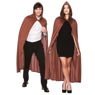 Adults Brown Cape With Hood Robin Hood Hero 132cm Long Fancy Dress Accessory