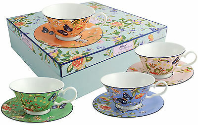 Aynsley Cottage Garden 4 Colour Windsor Teacups & Saucers - New/boxed