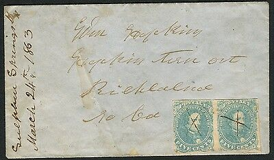 Sulphur Springs MS 03/24/1863 CSA# 4 hp stone 3 ADVERSITY cover to Hopkins T-Out