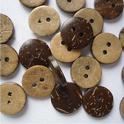 50/100 Coconut Shell 2 Holes Sewing Buttons Scrapbooking 15mm Knopf Bouton