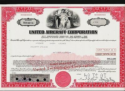 UNITED AIRCRAFT CORP ( now UT / UNITED  TECHNOLOGIES old bond certificate