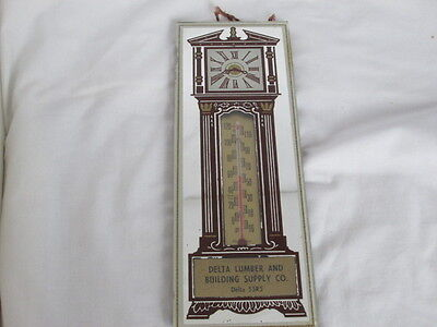 Old Advertising Grandfather Clock Mirror Thermometer Delta Lumber & Building