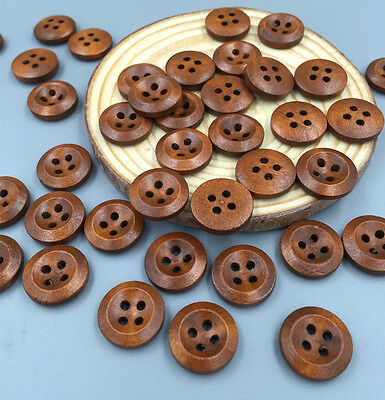 DIY 100pcs Brown 4 Holes Wooden Buttons Sewing Scrapbooking Diameter 15mm