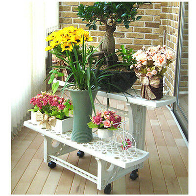 New Strong Stand Wheel Plant 2 Tier Garden Flowerpot Shelf Sturdy Display Decor