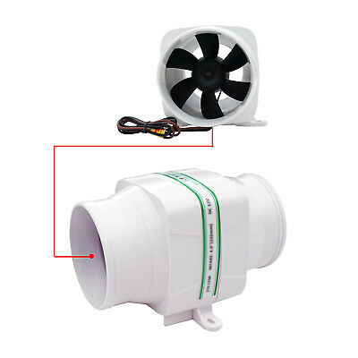 12Volt 4 inch Inline Bilge Air Blower Fan Ventilation Boat Sea Marine 270CFM vv