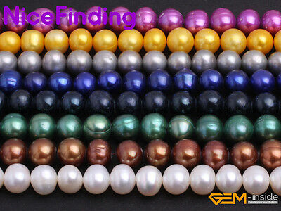 "8-11mm Freshwater Pearl Round Beads Lot For Jewellery Making 15"" Free Shipping"