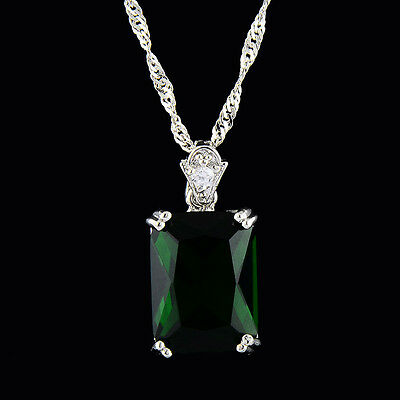 Pendant Rectangle Green Emerald White Gold Plated Cubic Zirconia Free Necklace
