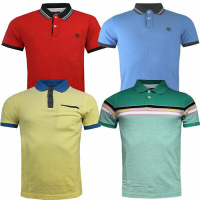 Timberland Short Sleeves Slim Oxford Striped Tipped Pique Mens Polo Shirts