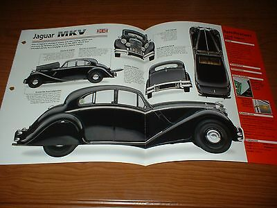 ★1949 Jaguar Mkv Spec Sheet Brochure Poster Print Photo 49 50 51 Mk5 Mk V 5 1951