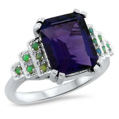 Lab Amethyst Opal 925 Sterling Silver Antique Art Deco Style Ring Sz 6.75,  #646