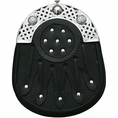 Tartanista Mens Scottish Black Strap & Stud Formal Leather Sporran With Cantle