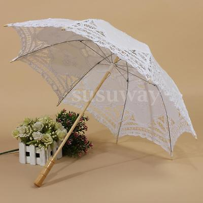 "30"" Lace Cotton Parasol Bridal Wedding Party Decoration Girl Sun Umbrella White"