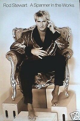 """ROD STEWART """"A SPANNER IN THE WORKS"""" U.S. PROMO POSTER - Rod Sitting In Chair"""