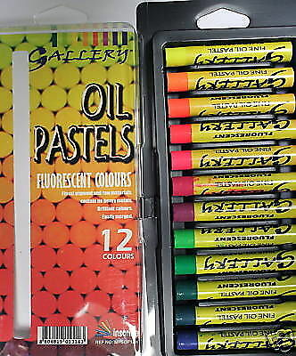 12 Reeves Fluorescent Pigment Intense Bright Neon Colour Artist Oil Pastels