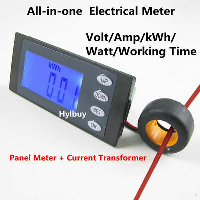 5 in 1 AC264V 100A AC power Combo Panel Meter Volt Amp kWh Watt Working Time+CT