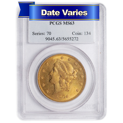 1850 to 1907 $20 Liberty Head Gold Double Eagle PCGS MS63 Random Year