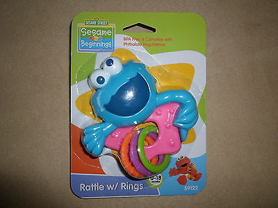 Pink BPA Free Sesame Street Cookie Monster Rattle With Rings, NEW IN PACKAGE!