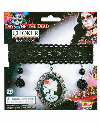 Womens Day Of The Dead Cameo Choker Lace Necklace Pendant Costume Accessory