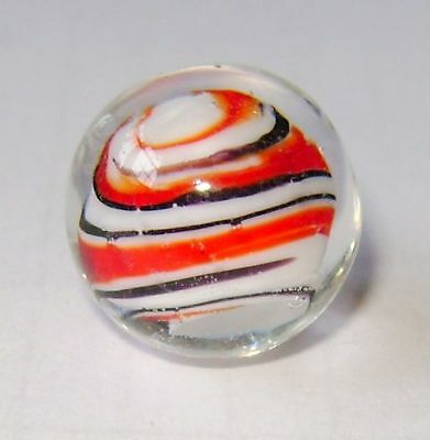 NEW SINGLE HANDMADE BUMBLE BUBBLE GLASS MARBLE STRIPED RED WHITE BLACK 16mm