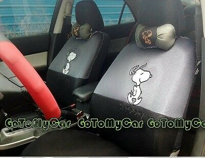 New Snoopy Car Seat Covers Accessories Set 12PCS Grey + Black