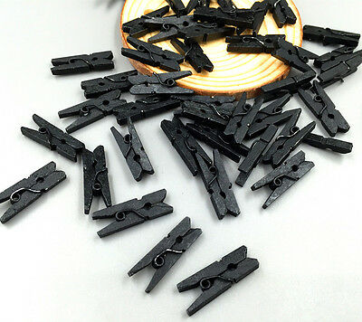 50/100pcs Mini Wooden  Black Clothe Photo Paper Peg Clothespin Craft Clips 25MM