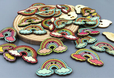 DIY Retro rainbow wooden buttons for sewing clip decorative handicrafts 30 mm
