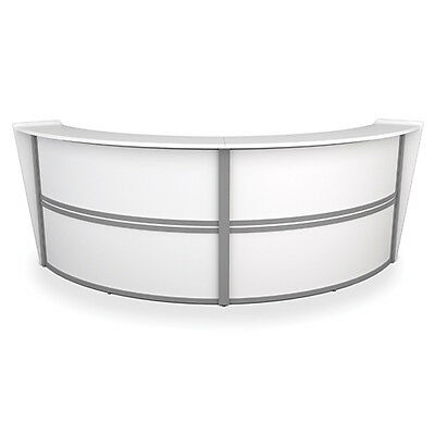 Contemporary Double Unit Reception Desk in White Finish with Silver Frame