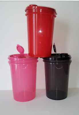 Tupperware Mega Tumblers 3pc Set w/ Pour Seals Red Black Pink 36oz /1L New