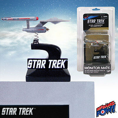 "STAR TREK ""THE ORIGINAL SERIES ENTERPRISE MONITOR BOBBLE HEAD SHIP"" Car Desk NEW"