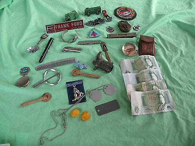 Mixed job lot of old antique vintage interesting collectable items