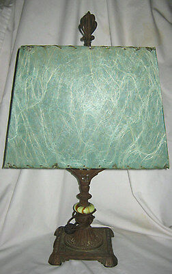 Antique Art Deco Lg Jadeite Cast Iron Mission Candlestick Lamp Fiberglass Shade
