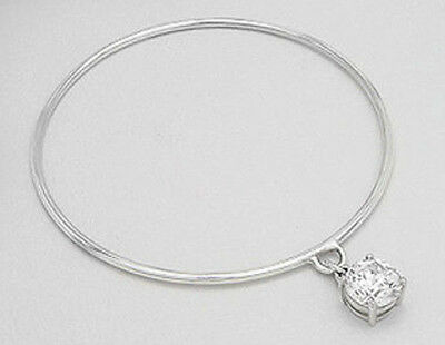 GORGEOUS 8g Solid Sterling Silver 4mm Thick Shiny Twist Bangle Bracelet