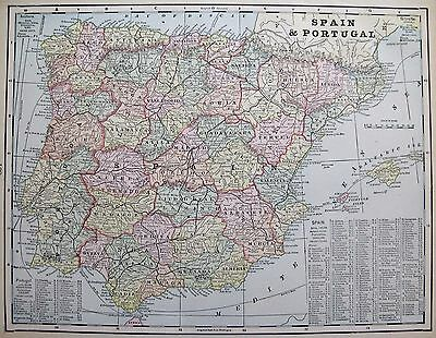 1899 Antique SPAIN Map Beautiful Vintage Map of Spain Gallery Wall Art 2670