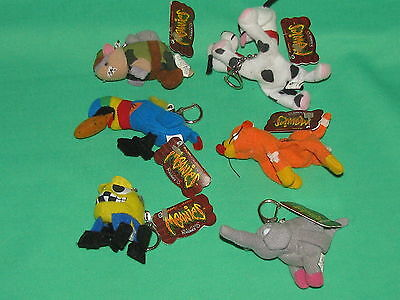 Meanies Key Chain Plush Lot of 6 Plushies Keychains