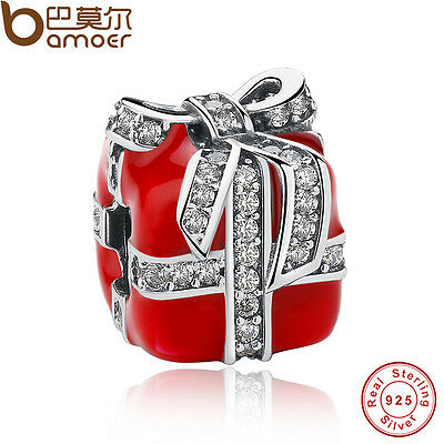Bamoer Sparkling Surprise Red Enamel Clear CZ Solid S925 Sterling Silver Charm